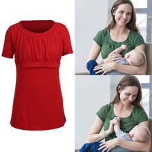 Hot Maternity Pregnancy Nursing Breast Feeding Shirts Top Women Solid Short Sleeve T-shirt Clothing
