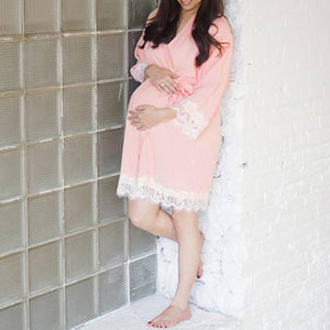 Maternity Clothes 2018 Pregnant Sleepwear Casual Loose Lace Patchwork Pregnancy Nightdress NightGrown Nursing Outwear Dress
