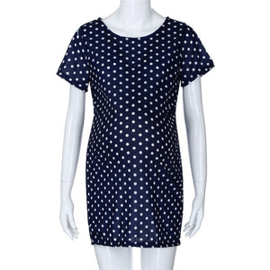 Summer Maternity Dresses Maternity Pregnant Short Sleeve Dot Sheath Dress Casual maternity Clothes Dress for pregnant JE10#F