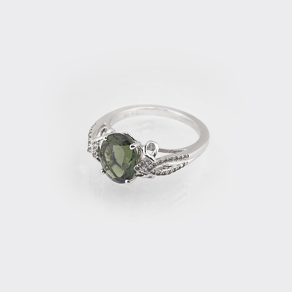 Moldavite Faceted Oval with White Topaz - Gaea | Crystal Jewelry & Gemstones (Manila, Philippines)