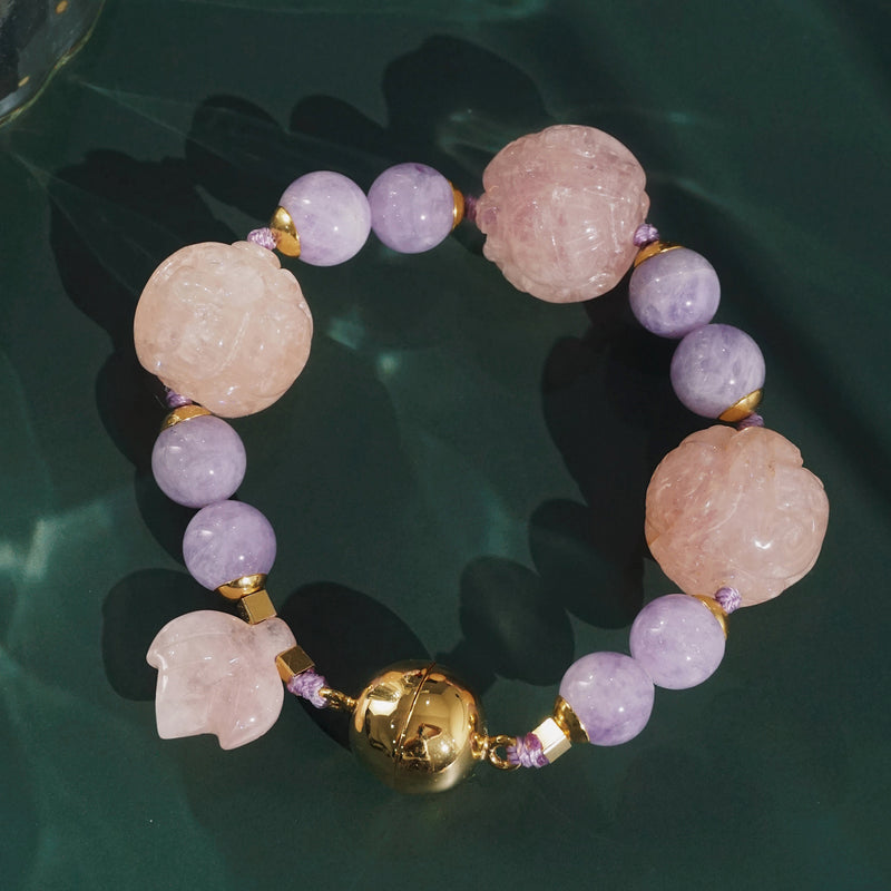 Carved Morganite 19mm and Lavender Amethyst 10mm