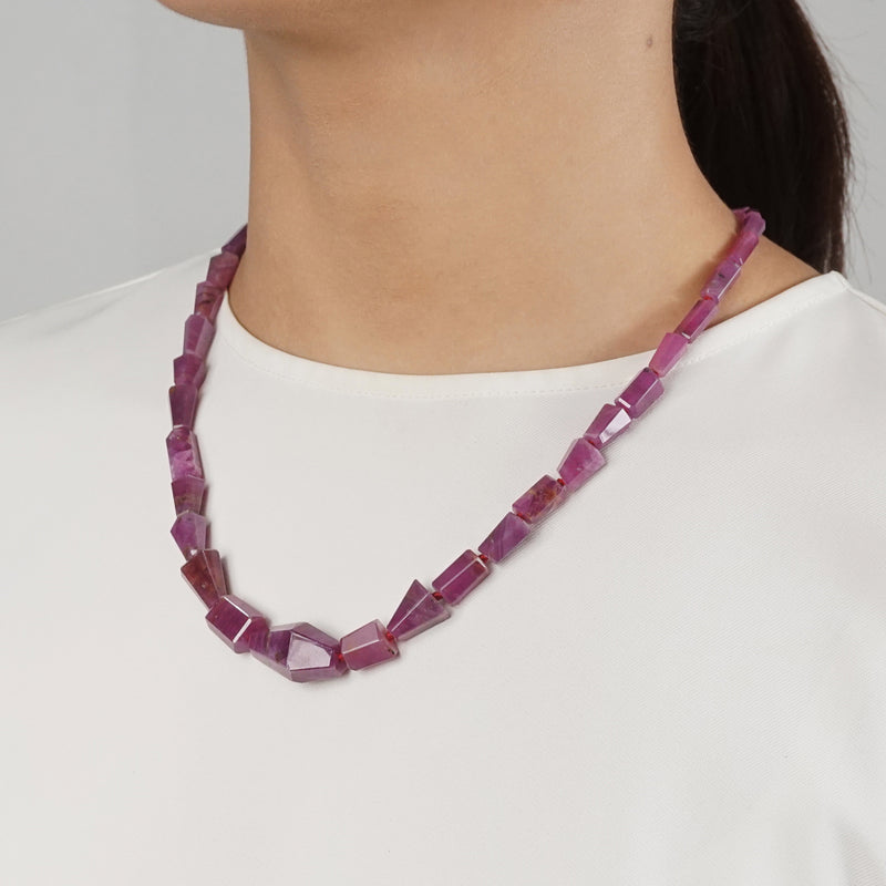 Natural Ruby Faceted Geometric Cut - Gaea