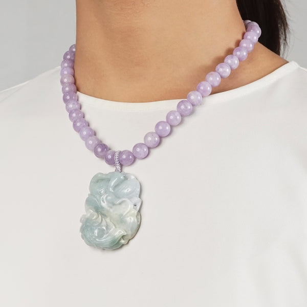 Lavender Amethyst 10mm with Carved Duck and Fish Burma Jade - Gaea | Crystal Jewelry & Gemstones (Manila, Philippines)