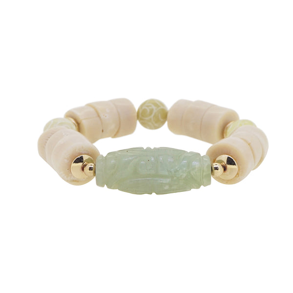 Carved Chinese Jade with Ivory Coral and Hematite - Gaea | Crystal Jewelry & Gemstones (Manila, Philippines)