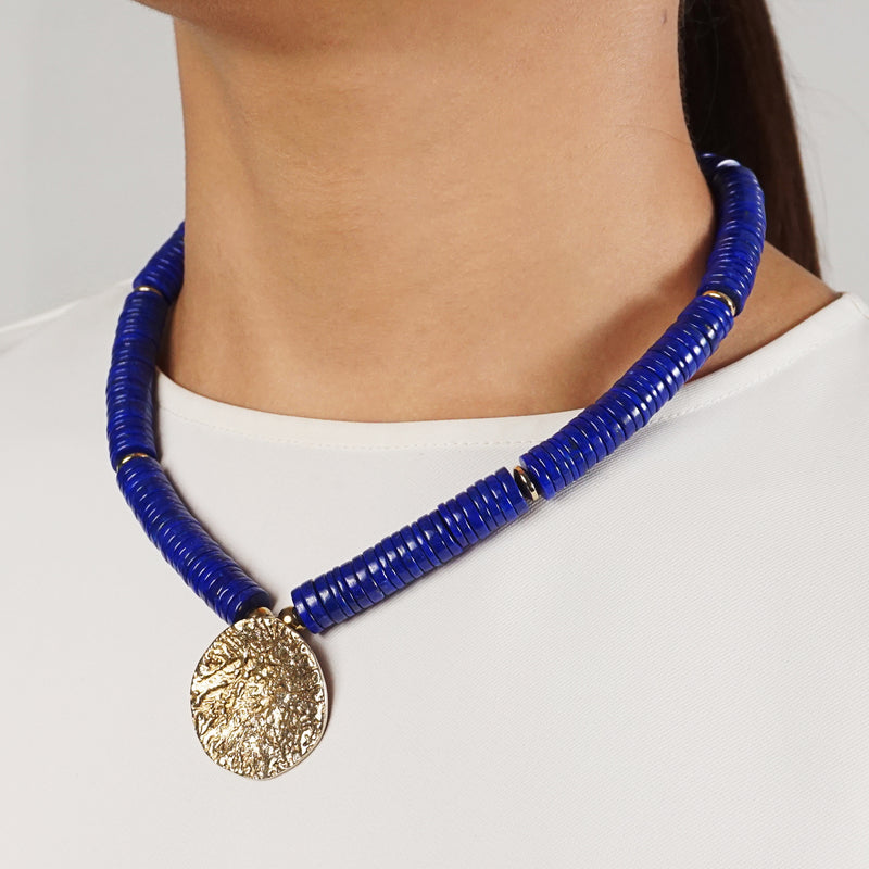 A-Grade Lapis Lazuli Discs with Brass Center - Gaea | Crystal Jewelry & Gemstones (Manila, Philippines)