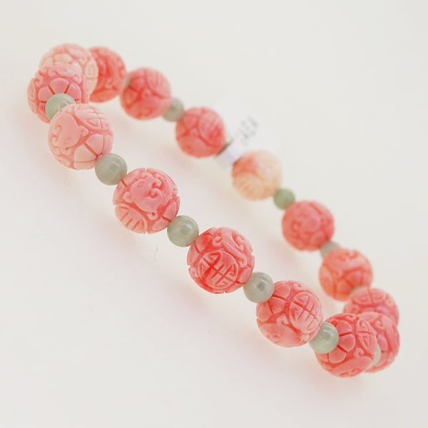 Carved Peach Japanese Coral with Burma Jade 4mm - Gaea | Crystal Jewelry & Gemstones (Manila, Philippines)