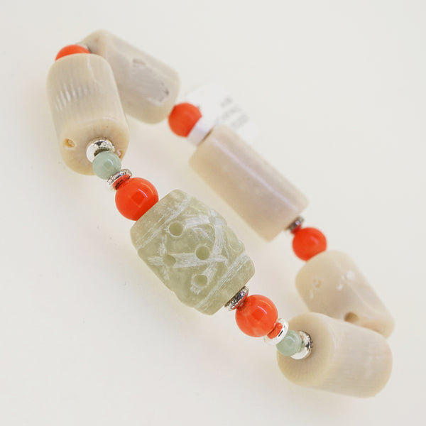 Ivory and Orange Coral with Jade and Hematite - Gaea | Crystal Jewelry & Gemstones (Manila, Philippines)