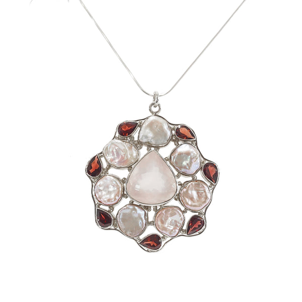 Rose Quartz, Pyrope Garnet and Freshwater Pearls - Gaea | Crystal Jewelry & Gemstones (Manila, Philippines)