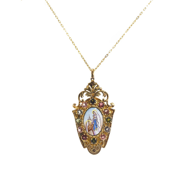 Our Lady of Lourdes Enamel with A-Grade Multicolored Tourmaline Medallion - Gaea | Crystal Jewelry & Gemstones (Manila, Philippines)