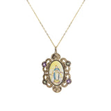 Miraculous Medal Enamel with A-Grade Amethyst and Moldavite Medallion - Gaea | Crystal Jewelry & Gemstones (Manila, Philippines)
