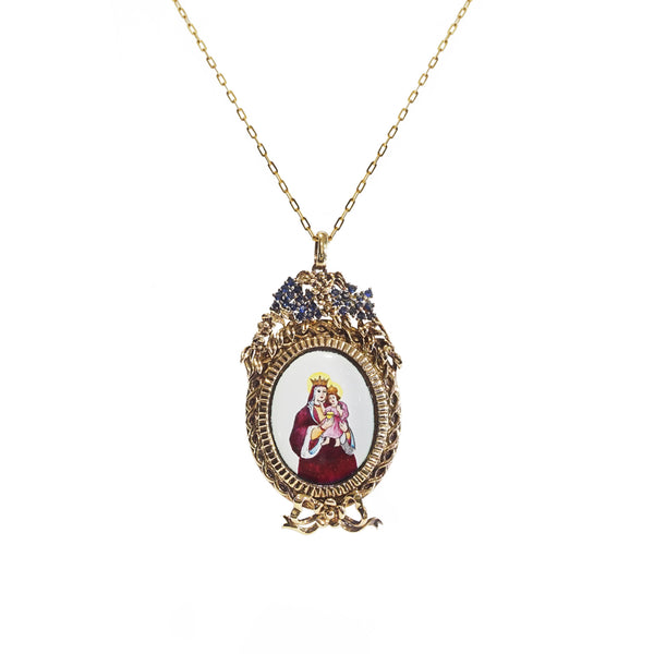 St. Anne Enamel with A-Grade Blue Sapphire on Black Rhodium Medallion - Gaea | Crystal Jewelry & Gemstones (Manila, Philippines)