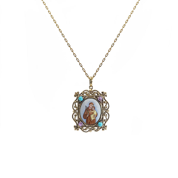 St. Anthony Enamel with A-Grade Amethyst and Turquoise Medallion - Gaea | Crystal Jewelry & Gemstones (Manila, Philippines)