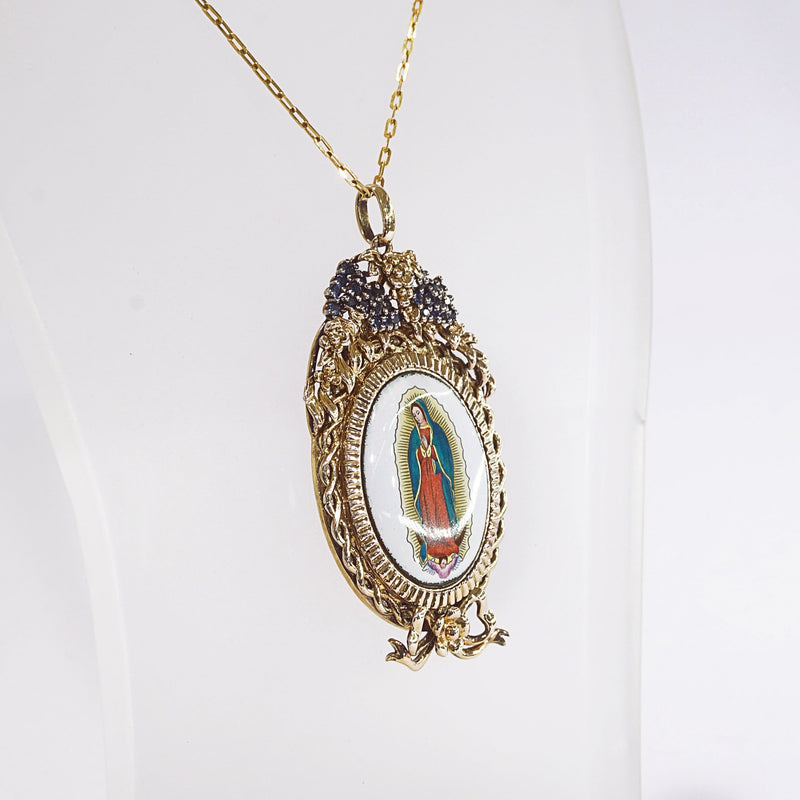 Lady of Guadalupe Enamel with A-Grade Blue Sapphire on Rhodium Medallion - Gaea | Crystal Jewelry & Gemstones (Manila, Philippines)