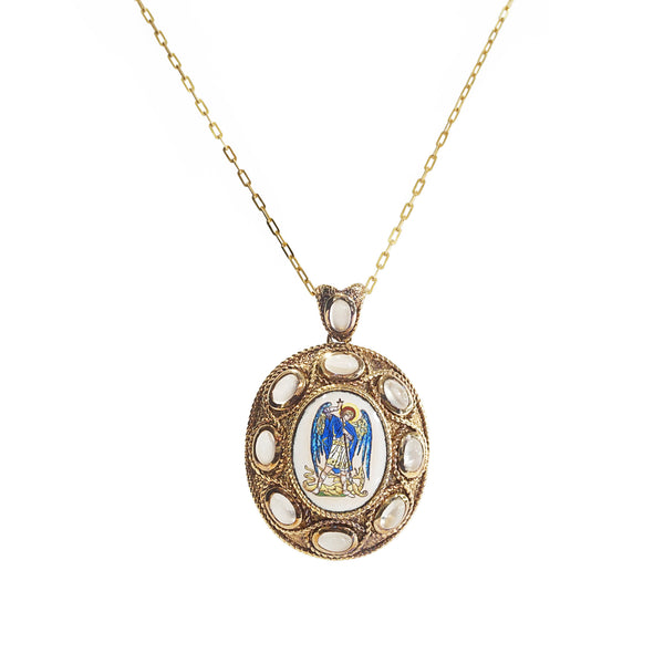 St. Michael The Archangel Enamel with A-Grade White Moonstone Medallion - Gaea | Crystal Jewelry & Gemstones (Manila, Philippines)