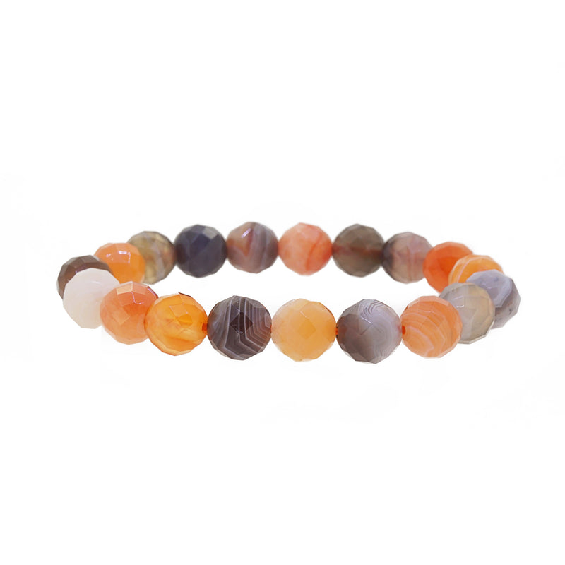 Orange and Gray Botswana Agate 10mm Faceted - Gaea | Crystal Jewelry & Gemstones (Manila, Philippines)