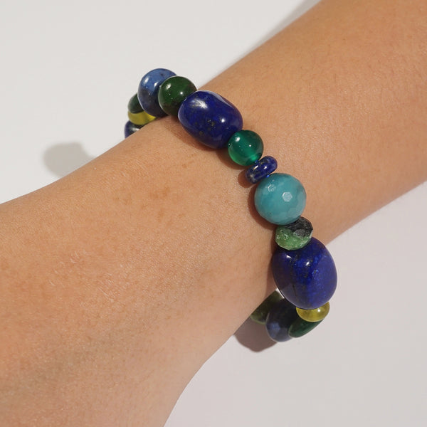 Lapis Lazuli, Green Kyanite, and African Chrysocolla Mixed Gemstones
