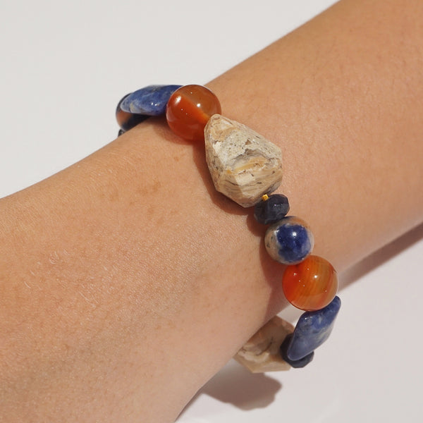 Ivory Opal, Sodalite, and Carnelian Mixed Gemstones