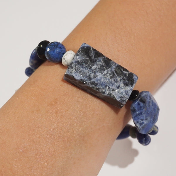 Sodalite, Dumortierite, and Black Onyx Mixed Gemstones