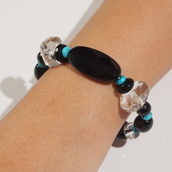 Black Onyx, Clear Quartz, and Turquoise Mixed Gemstones