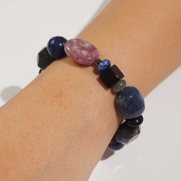 Lepidolite, Dumortierite, and Charoite Mixed Gemstones