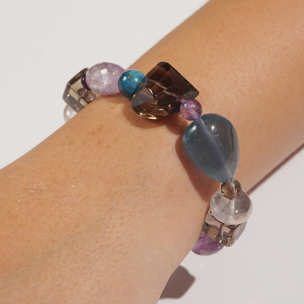 Smoky Quartz, Fluorite, and Amethyst Mixed Gemstones