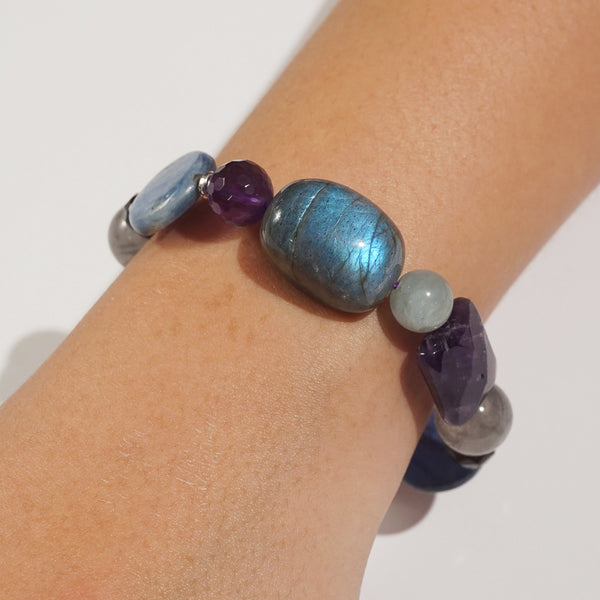 Labradorite, Amethyst, and Kyanite Mixed Gemstones