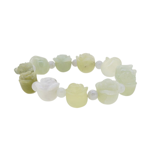 Chinese Jade Carved Flower with Burma Jade 6mm - Gaea | Crystal Jewelry & Gemstones (Manila, Philippines)