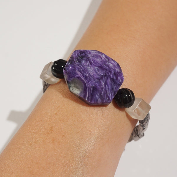 Charoite, Black Onyx, and Black Tourmalinated Quartz Mixed Gemstones