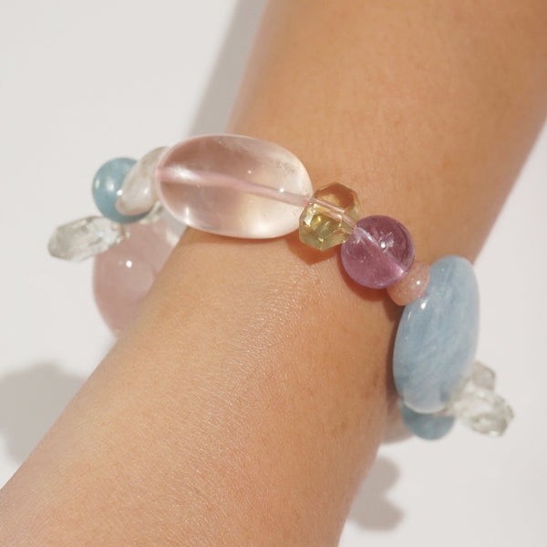 Aquamarine, Rose Quartz, and Amethyst Mixed Gemstones