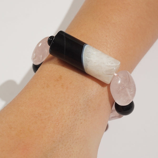Botswana Agate, Rose Quartz, and Black Onyx Mixed Gemstones