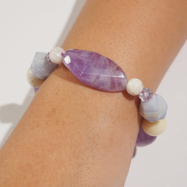 Amethyst, Blue Lace Chalcedony, and White Agate Mixed Gemstones