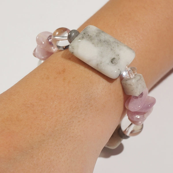 Kunzite, White Pyrite, and Clear Quartz Mixed Gemstones