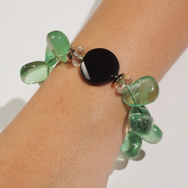 Green Fluorite, Black Onyx, and Clear Quartz Mixed Gemstones