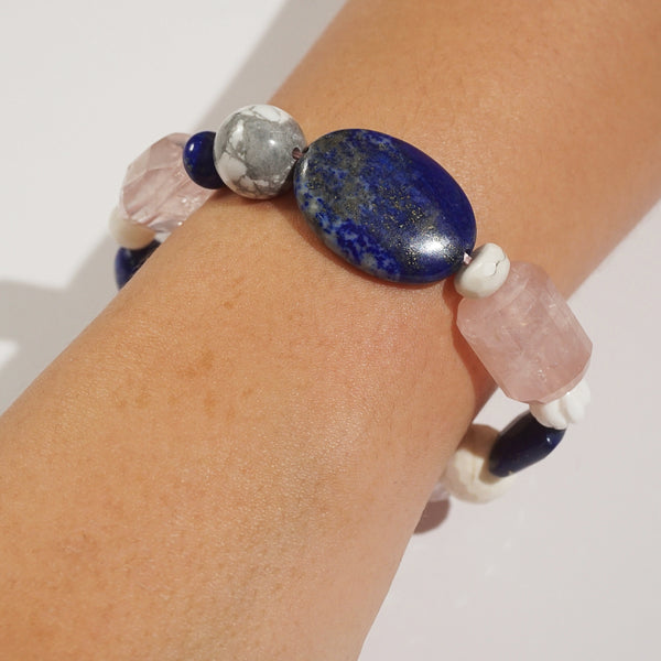 Rose Quartz, Lapis Lazuli, and Howlite Mixed Gemstones