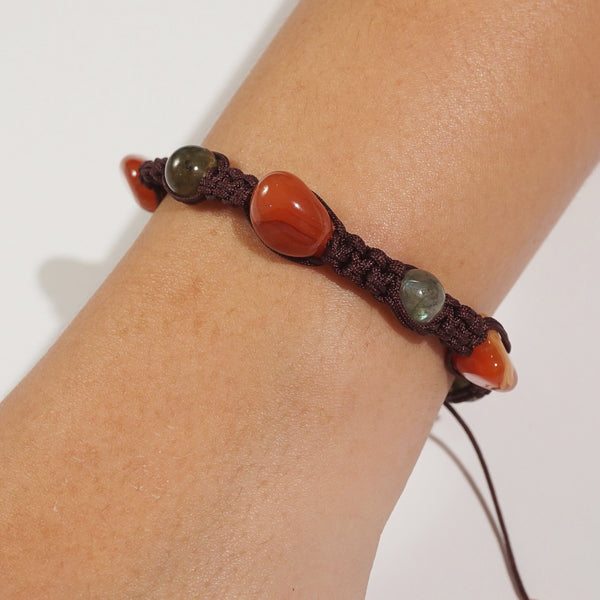 Carnelian and Labradorite in Leather