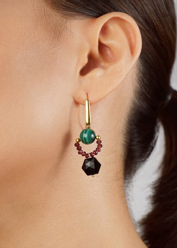 Malachite 10mm, Garnet, and Black Spinel - Gaea | Crystal Jewelry & Gemstones (Manila, Philippines)