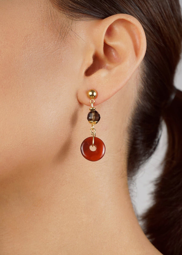 Asymmetrical Carnelian, Smoky Quartz, Sphene, and Lemon Quartz - Gaea | Crystal Jewelry & Gemstones (Manila, Philippines)