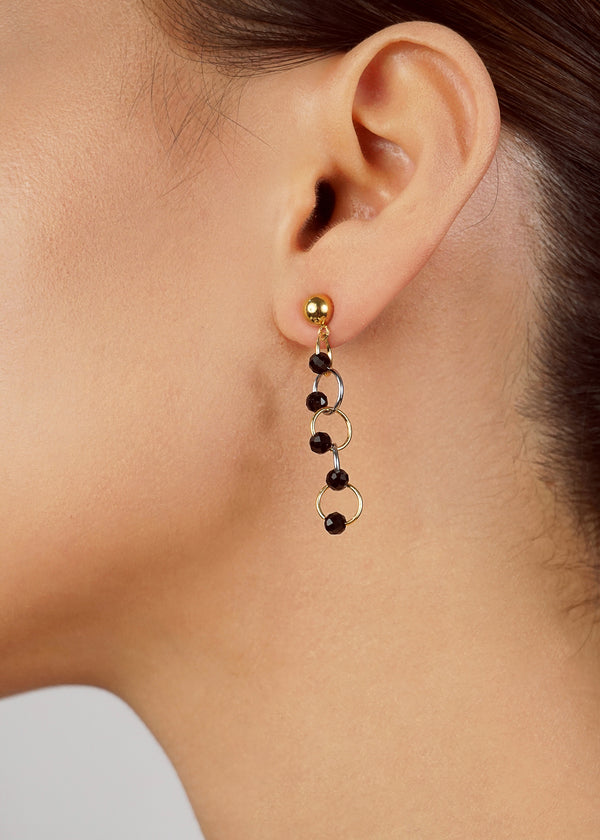 Black Spinel Faceted 4mm with Two-tone Links - Gaea | Crystal Jewelry & Gemstones (Manila, Philippines)