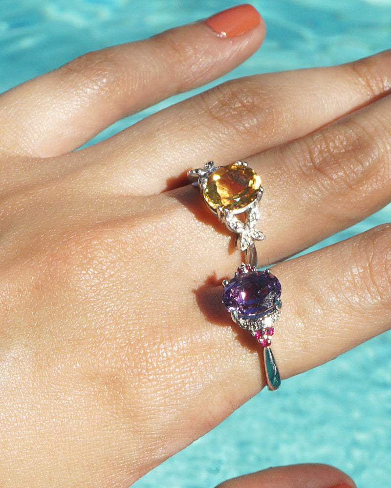 Gem-Grade Amethyst Oval with Ruby