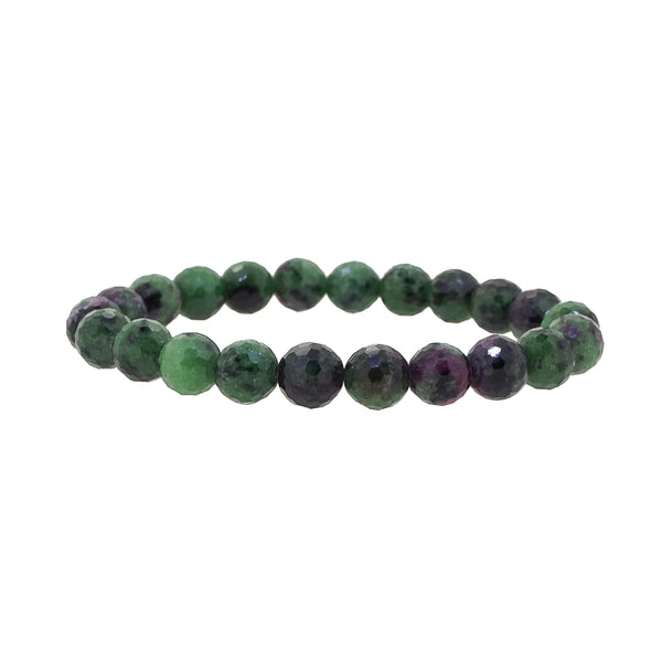 Ruby Zoisite Faceted 8mm - Gaea