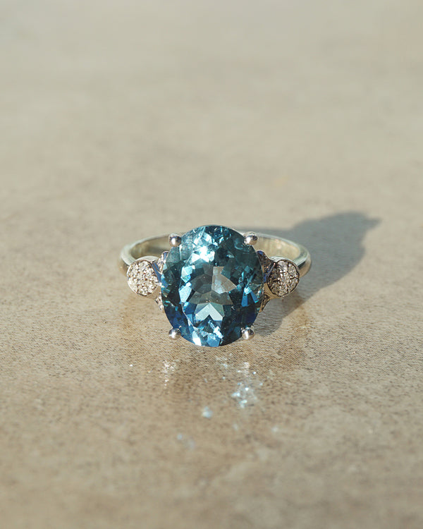 Gem-Grade London Blue Topaz Oval with Diamonds