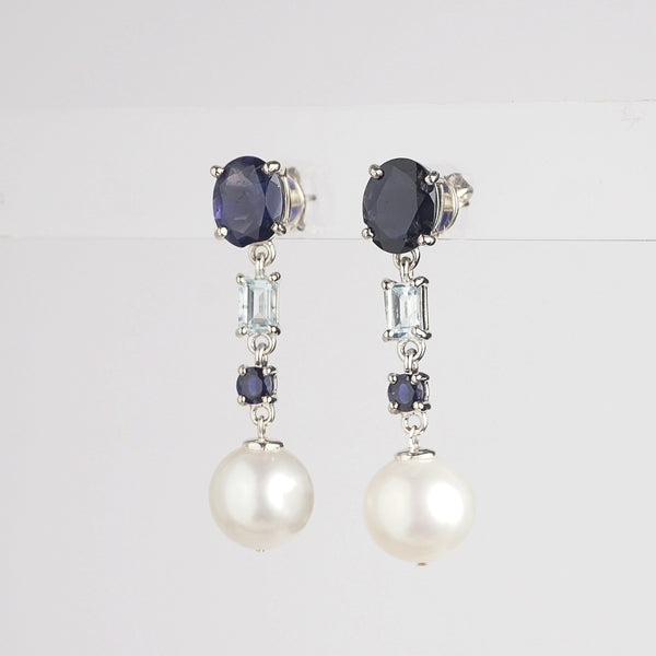 Freshwater Pearl with Iolite and Aquamarine - Gaea | Crystal Jewelry & Gemstones (Manila, Philippines)