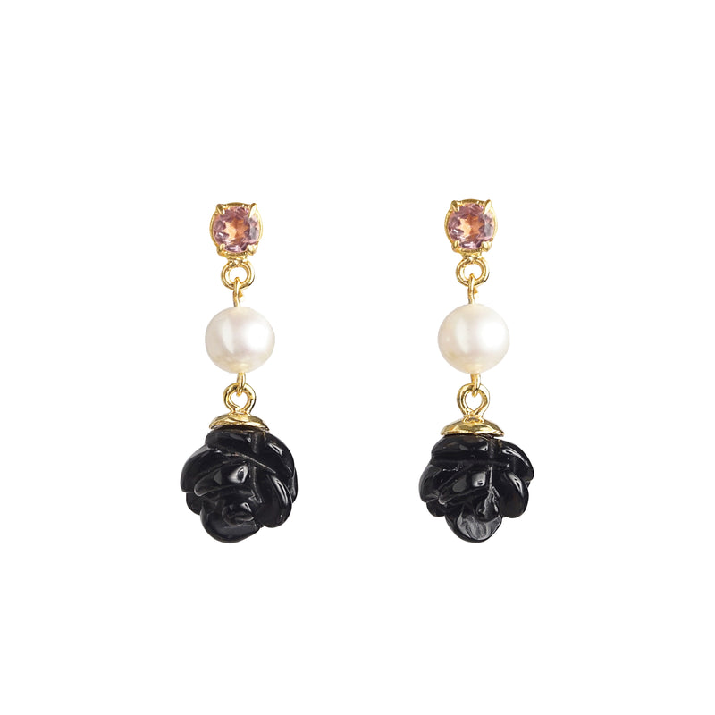 Black Onyx Florette with Freshwater Pearl and Pink Topaz - Gaea | Crystal Jewelry & Gemstones (Manila, Philippines)