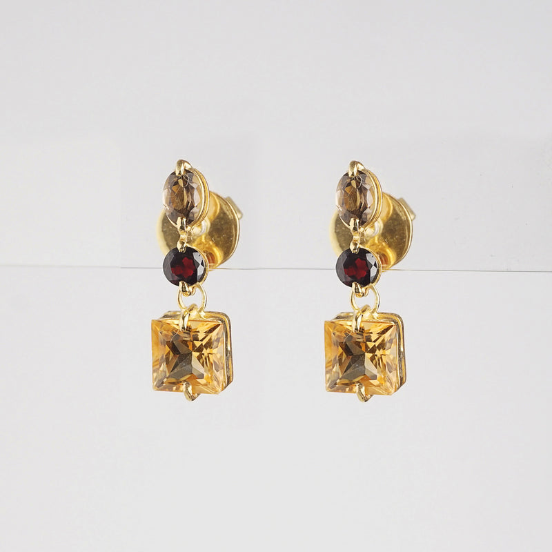 Citrine with Smoky Quartz and Garnet - Gaea | Crystal Jewelry & Gemstones (Manila, Philippines)