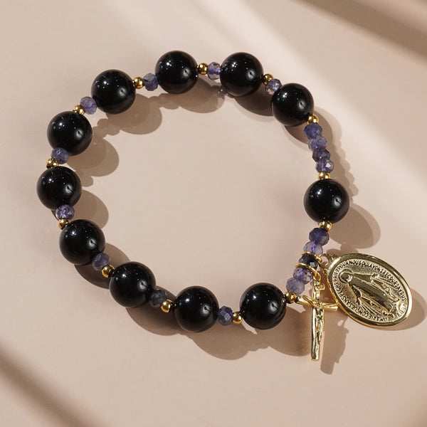 Black Onyx and Iolite Rosary Bracelet 10mm - Gaea | Crystal Jewelry & Gemstones (Manila, Philippines)