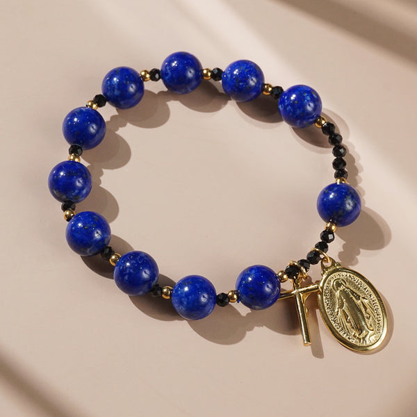 Lapis Lazuli and Black Tourmaline Rosary Bracelet 10mm - Gaea | Crystal Jewelry & Gemstones (Manila, Philippines)