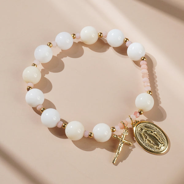 White and Pink Opal Rosary Bracelet 10mm - Gaea | Crystal Jewelry & Gemstones (Manila, Philippines)