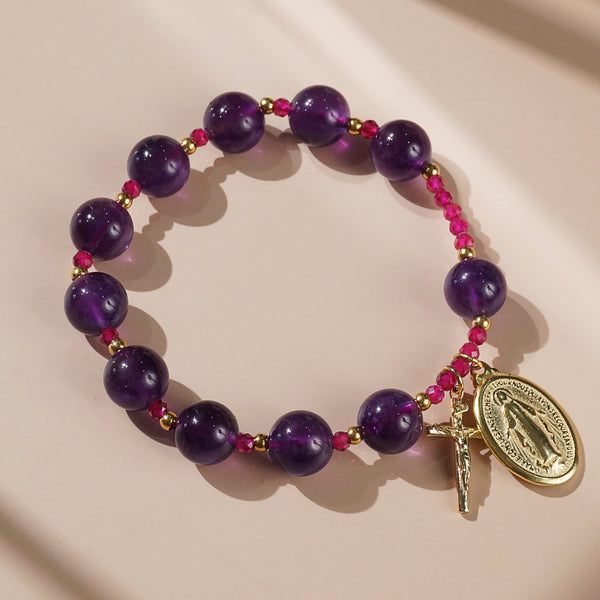 Amethyst and Gem-Grade Ruby Rosary Bracelet 10mm - Gaea | Crystal Jewelry & Gemstones (Manila, Philippines)