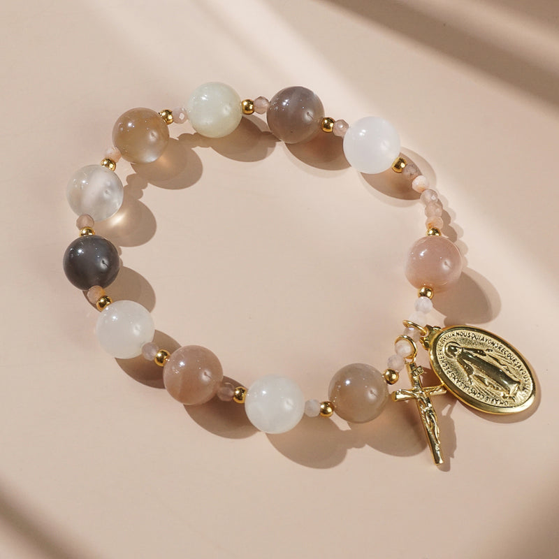 Tricolor Moonstone Rosary Bracelet 10mm - Gaea | Crystal Jewelry & Gemstones (Manila, Philippines)