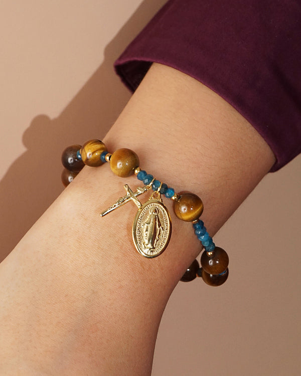 Tiger Eye and Madagascar Apatite Rosary Bracelet 10mm - Gaea | Crystal Jewelry & Gemstones (Manila, Philippines)